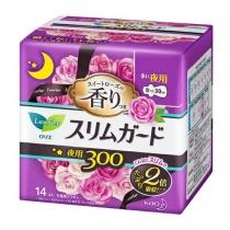 花王laurier乐而雅零触感特薄夜用卫生巾30CM 14枚瞬吸超薄(紫)